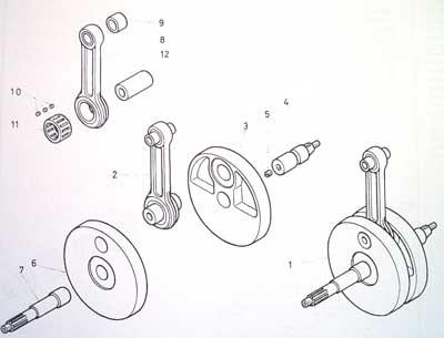 Partes del cigueñal de una moto