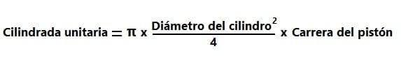 Fórmula de la cilindrada unitaria
