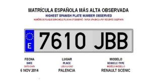 España estrena la letra J en sus matrículas noviembre 2014