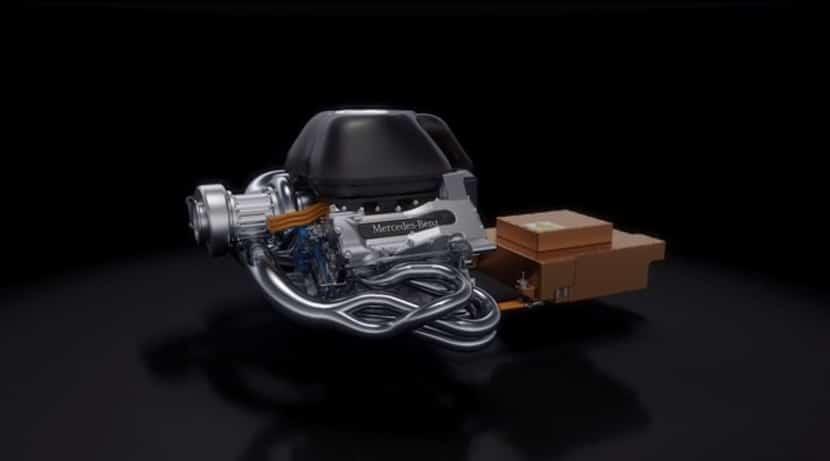 Render del motor Mercedes V6 Turbo Híbrido para F1