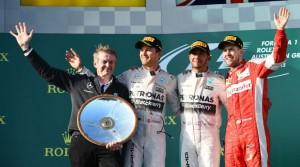 Rosberg, Hamilton y Vettel en el podio del GP de Australia 2015