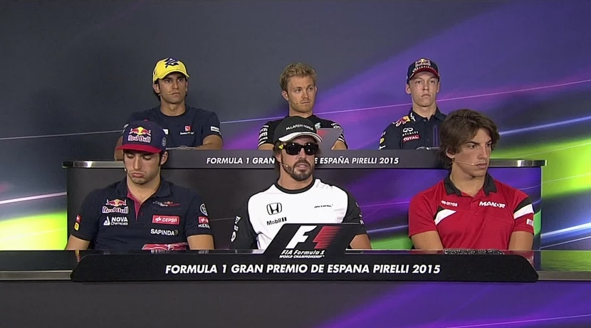 Alonso, Sainz y Mehri en la rueda de prensa