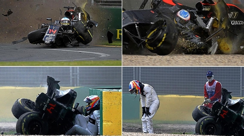 Imágenes del accidente de ALonso en el GP de Australia 2016