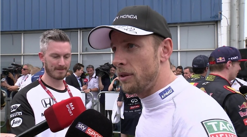 Jenson Button en el corralito de prensa