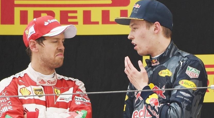 Vettel y Kvyat enfadados