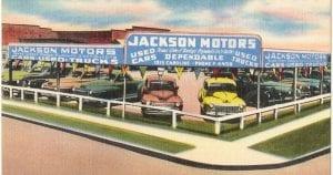 Dibujo de un concesionario antiguo de coches usados