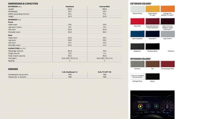 Especificaciones filtradas del Ford Mustang