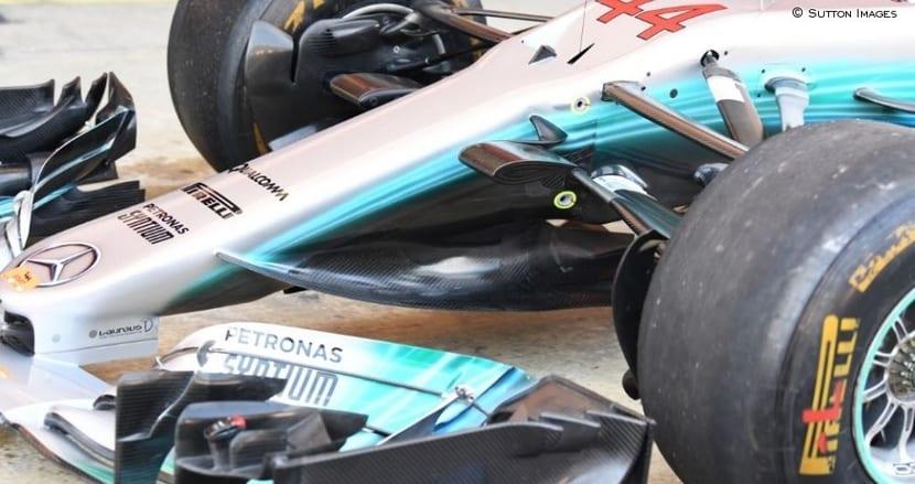 Mejoras bargeboard Mercedes para GP de España