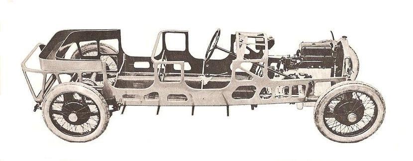 Detalle del chasis de un Lancia Lambda