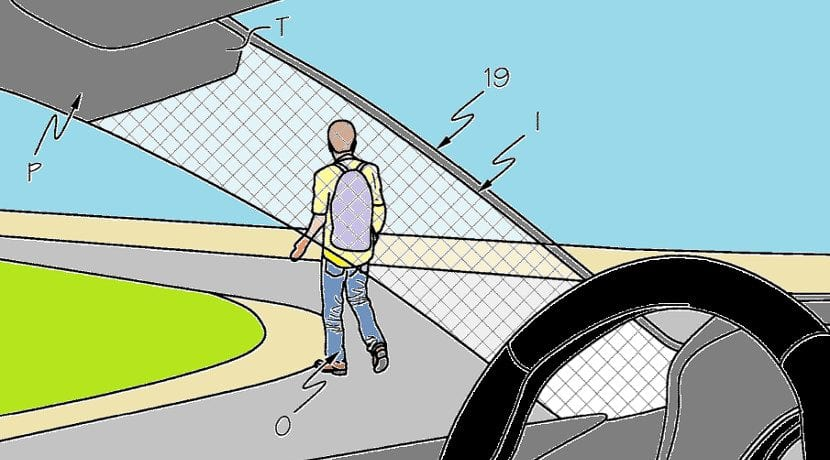 Dibujo de la patente del sistema para ver a través del pilar A