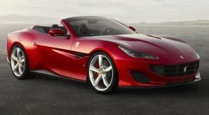 Frontal del Ferrari Portofino descapotado