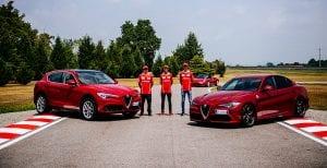 Alfa Romeo en Balocco con los pilotos de Ferrari