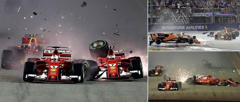 Accidente Vettel, Räikkönen, Verstappen, Alonso