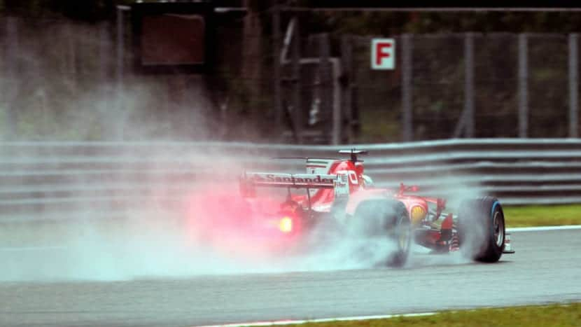 Ferrari en Monza 2017 mojado
