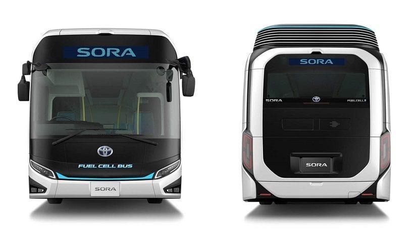 Frontal y trasera del autobús de hidrógeno Sora de Toyota