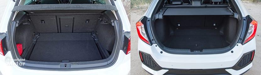 Comparativa maletero Volkswagen Golf y Honda Civic