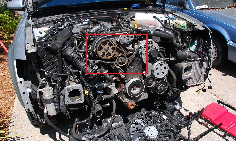 La correa de distribución de un motor abierto