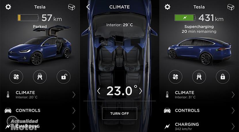 Funciones aplicación móvil Tesla