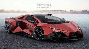 Frontal del Lamborghini Forsennato en rojo