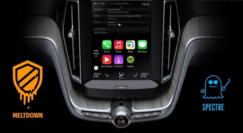 spectre y meltdown logos con consola de coche conectado