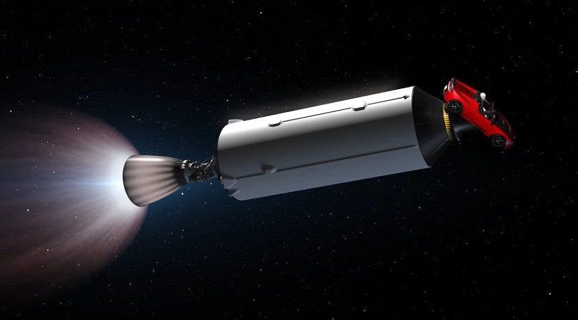 Vídeo simulación del lanzamiento al espacio del Tesla Roadster