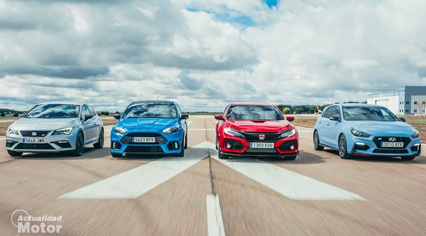 Comparativa compactos deportivos con Ford Focus RS, Honda Civic Type R, Seat León Cupra y Hyundai i30 N