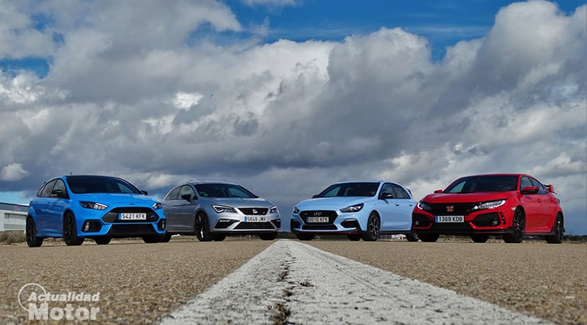 Drag Race Hot Hatch Ford Focus RS, Honda Civic Type R, Seat León Cupra y Hyundai i30 N