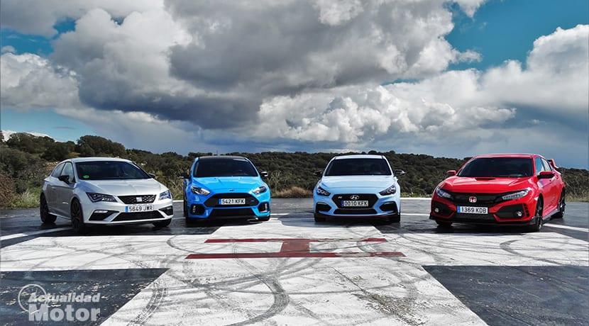 Resumen Comparativa Compactos Deportivos con Ford Focus RS, Honda Civic Type R, Seat León Cupra, Hyundai i30 N