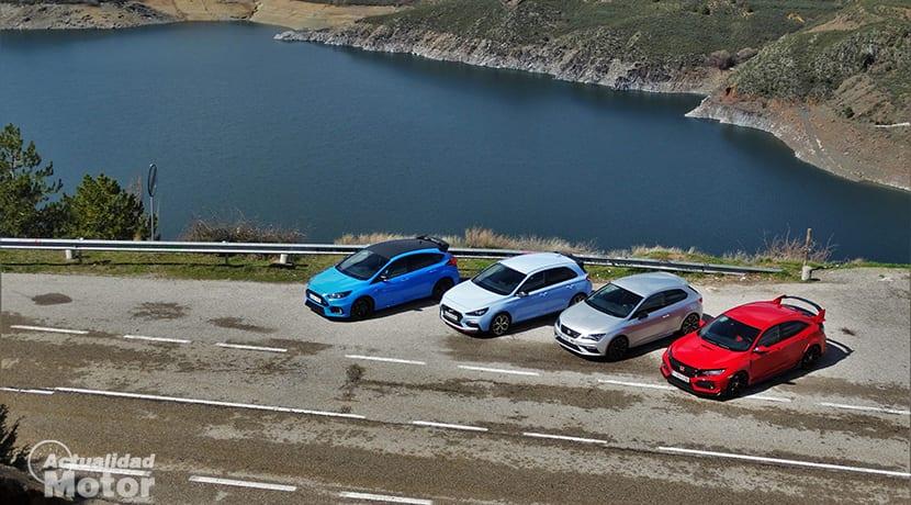 Comparativa Compactos Deportivos con Ford Focus RS, Honda Civic Type R, Seat León Cupra, Hyundai i30 N