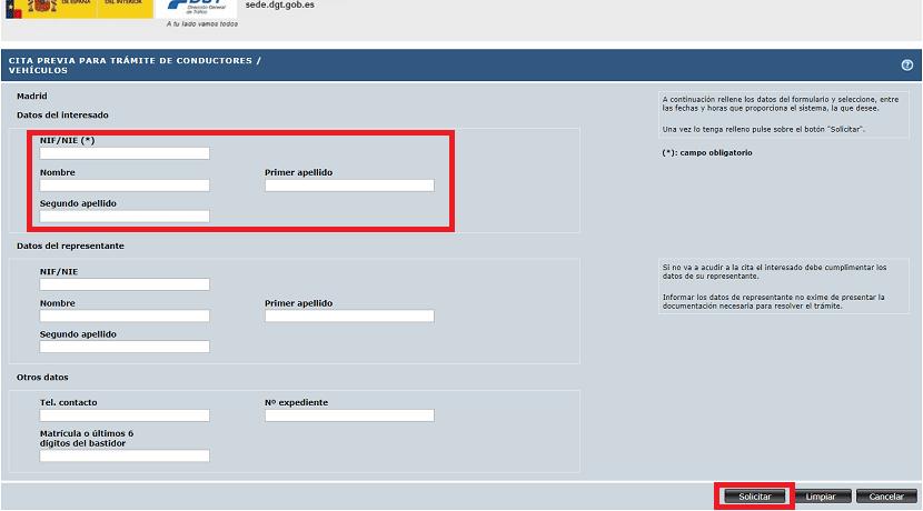 Datos personales al pedir cita previa