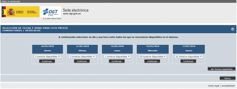 Selección de fecha y hora en la cita previa para una jefatura de tráfico