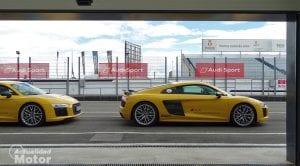 Audi R8 amarillo en el Audi Driving Experience Sportscar