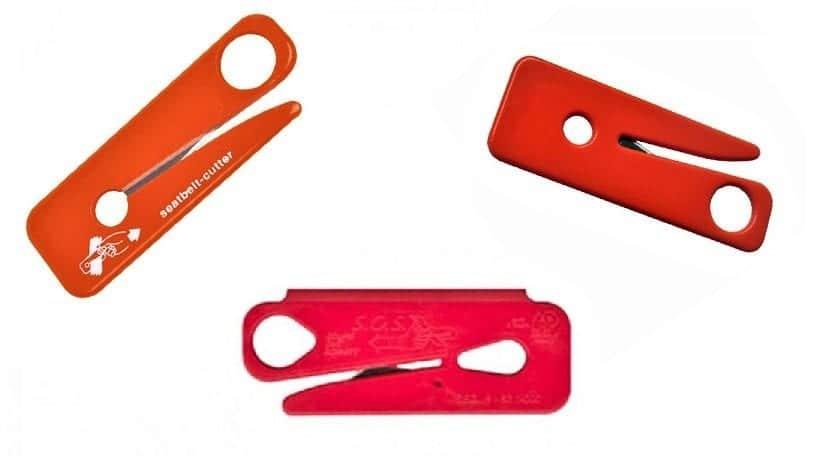 Cuchillas para cortar cinturones de seguridad imprescindibles en la guantera o huecos similares (Fuera del alcance de los niños)