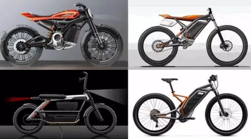 Bocetos de las motos eléctricas de Harley Davidson y su bicicleta eléctrica