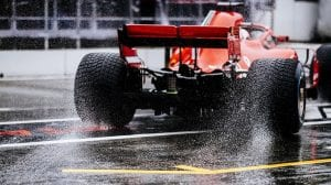 Ferrari F1 sobre lluvia