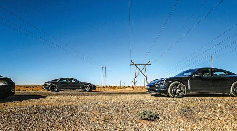 Coches eléctricos de 2019 Mula de pruebas del Porsche Taycan eléctrico