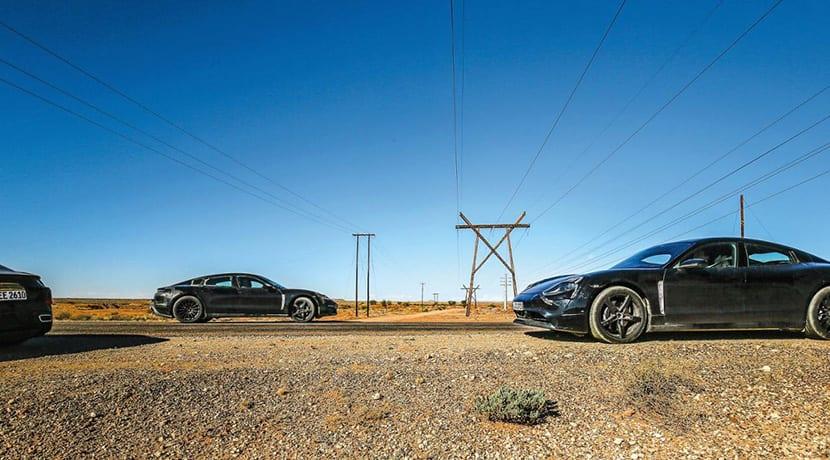 Mula de pruebas del Porsche Taycan eléctrico