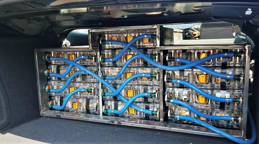 Baterías del Audi S5 convertido en eléctrico con piezas de Tesla