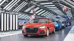 Audi A1 saliendo de la fábrica de Martorell