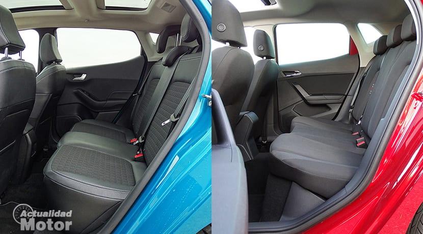 Comparativa Seat Ibiza Vs Ford Fiesta plazas traseras