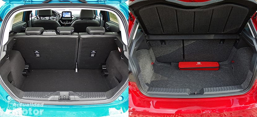Comparativa Ford Fiesta Vs Seat Ibiza capacidad maletero