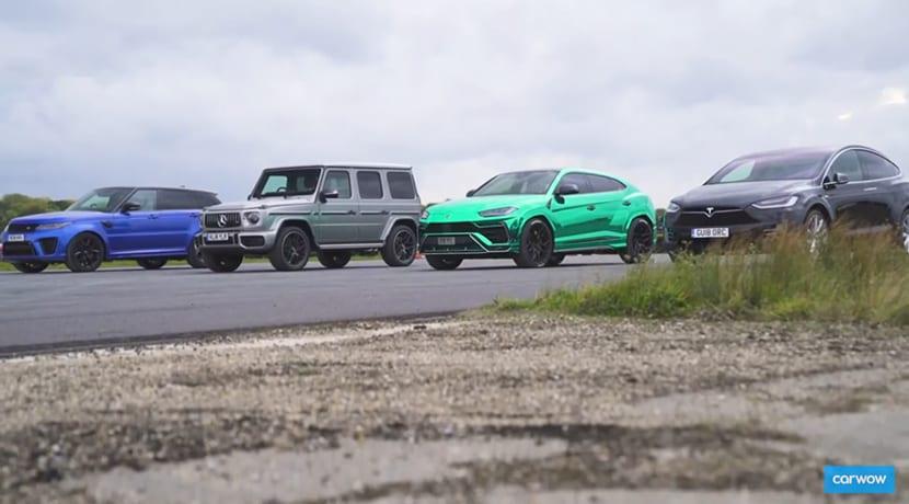 Carrera aceleración Tesla Model X P100D con Lamborghini Urus, Mercedes-AMG G 63 y Range Rover Sport SVR