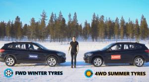 Comparativa en la nieve: Tracción delantera y ruedas de invierno Vs tracción 4x4 y ruedas de verano