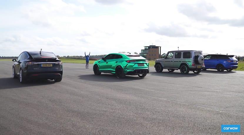 Drag Race en vídeo del Tesla Model X P100D con Lamborghini Urus, Mercedes-AMG G 63 y Range Rover Sport SVR