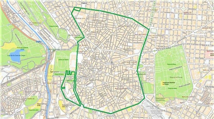 Mapa de Madrid Central - Zona de bajas emisiones con restricción de tráfico