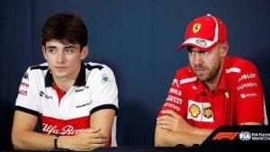 Leclerc junto a Vettel