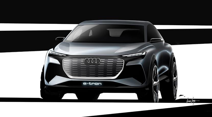 Boceto del Audi Q4 e-tron Concept frontal
