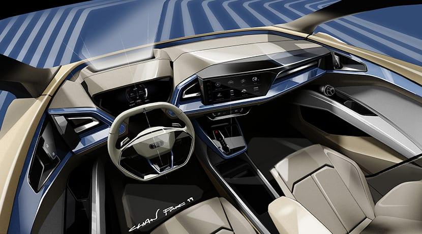Boceto del interior del Audi Q4 e-tron Concept