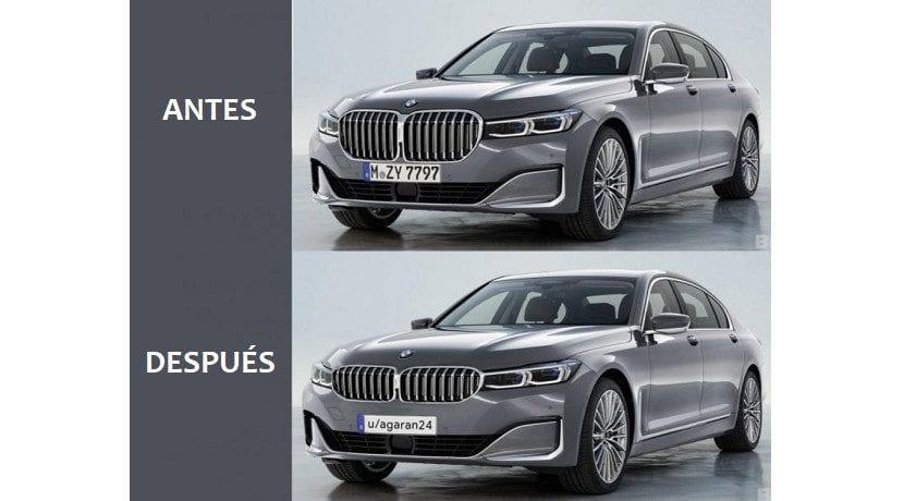 Antes y después del retoque estético en el morro del BMW Serie 7