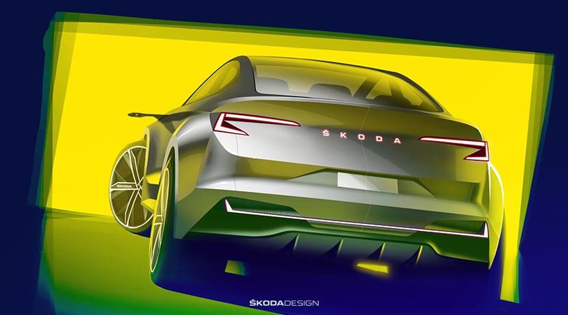 Boceto de la parte trasera del Skoda Vision IV